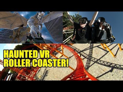 AWESOME Haunted Virtual Reality Roller Coaster POV Rage of the Gargoyles Six Flags Over Georgia
