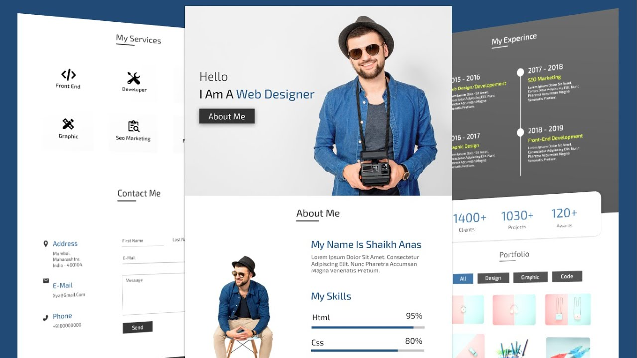 Complete Responsive Personal Portfolio Website Tutorial For Beginners Using HTML/CSS /JS/BOOTSTRAP
