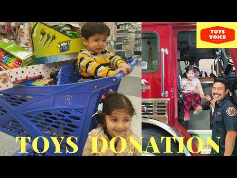 Toys For Tots Donation At Toys R Us & Fire Station By Kids   Toys Voice