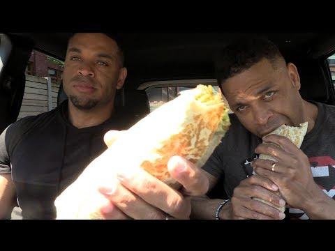Eating Fat Bastard Burrito Baja Chipotle Chicken Burrito @Hodgetwins