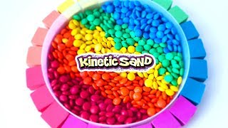 Learn Colors with Rainbow m&m Chocolate Pool Kinetic Sand ASMR DIY Sand Art - CLAY ART TV