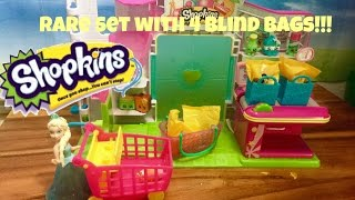 New Shopkins Season 4 Small Mart Market Toy with FOUR RARE blind bags in set