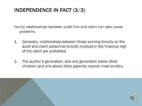 auditor s independence The term 'independent' and the concept of auditor independence are often referred to in connection with both internal and external auditors however, there is considerably different meaning and degree.