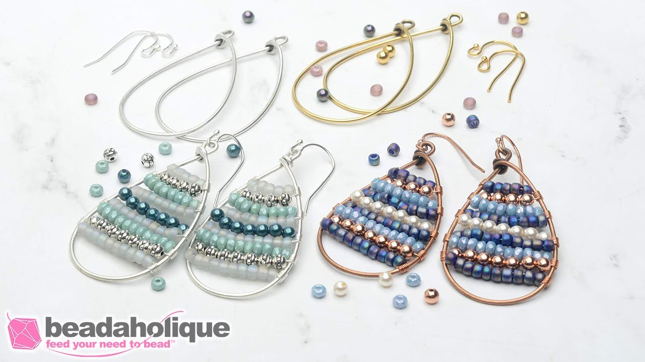 Wire wrapped beaded hoops
