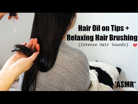 ASMR HAIR BRUSHING - INTENSE HAIR SOUNDS + OIL TREATMENT ...