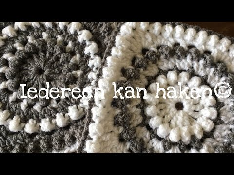 "Iedereen kan haken© Woondeken Granny Square ""Circle of Friends"" (different languages sub) crochet"