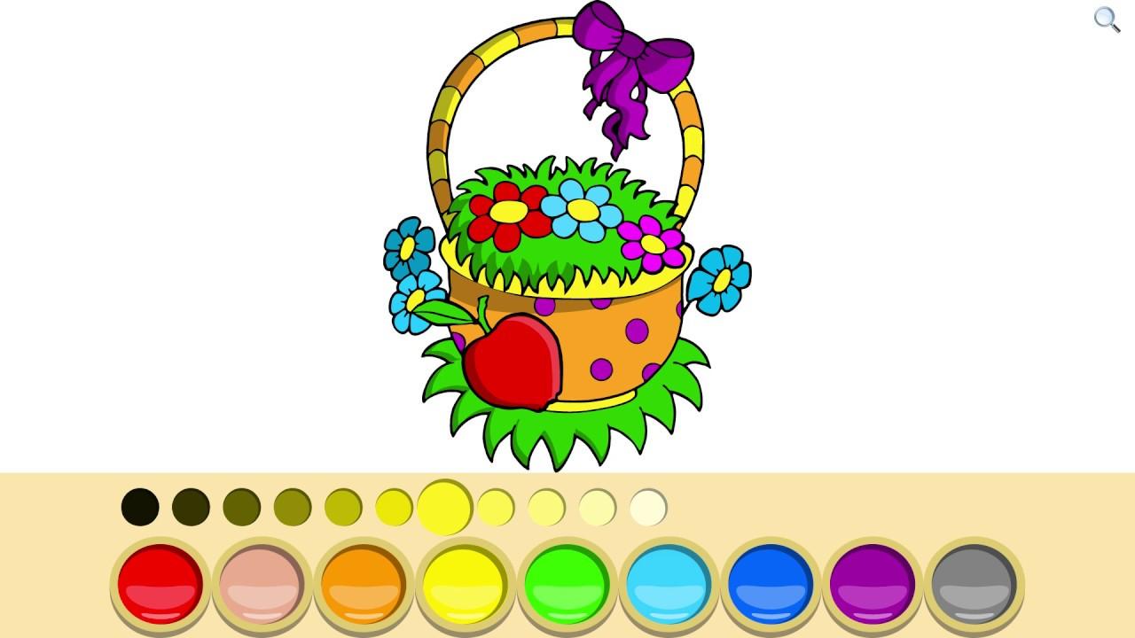 Раскраска - мультик   Корзинка с цветами   Обучающее видео ...