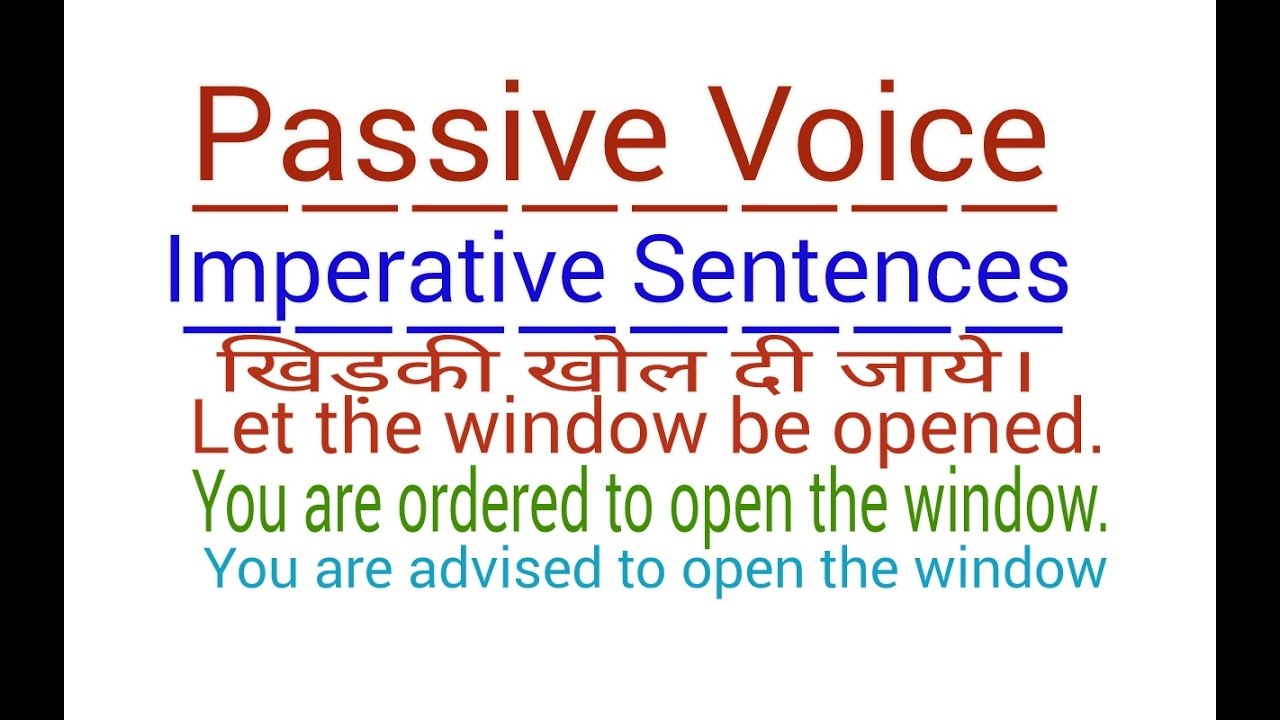 Passive Voice Imperative Sentences In English Grammar Through
