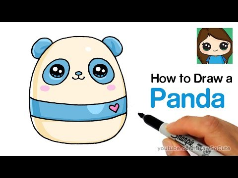 How to Draw a Cute Panda EASY | Squishy Squooshems