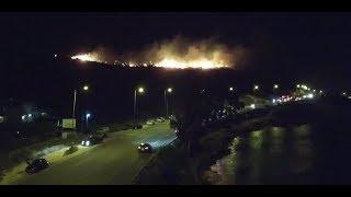 *Drone* Φωτιά στο Λαγονήσι - Σαρωνίδα. Έκλεισε η Παραλιακη