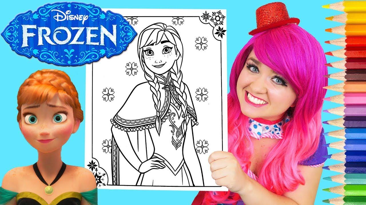 Coloring Anna Frozen Disney Book Page Prismacolor Colored Pencil