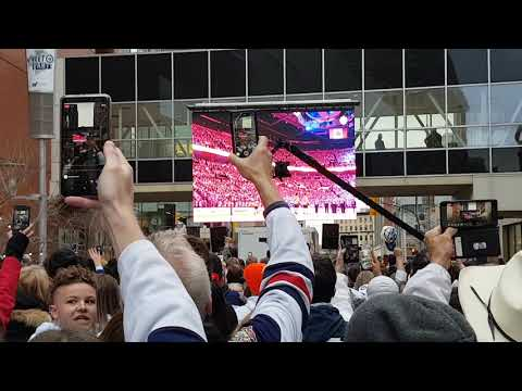Winnipeg Jets vs Nashville Predators Game 3 Playoff Street Party Canadian National Anthem