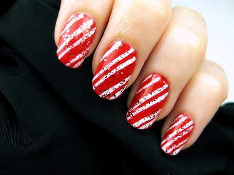 Easy candy cane nail art youtube easy candy cane nail art prinsesfo Choice Image