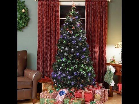 SKY1954 Pre-Lit Fiber Optic 7' Green Artificial Christmas Tree