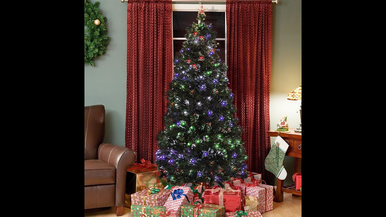 sky1954 pre lit fiber optic 7 green artificial christmas tree youtube - Pre Lit Decorated Christmas Trees
