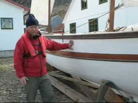 A replica of Shackleton's boat James Caird arrives at the South Georgia Museum.