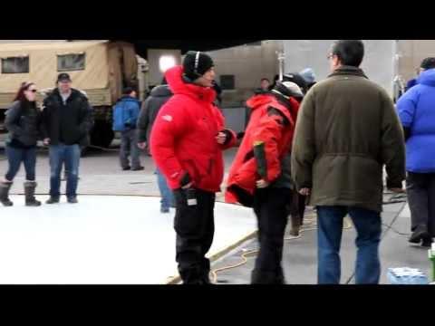 NIKITA filming, shooting Lyndsy Fonseca, Dillon Casey, on The Set talking