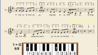 Notasi Lagu | UCAP SELAMAT PAGI | Lagu Anak-anak - Upin-Ipin