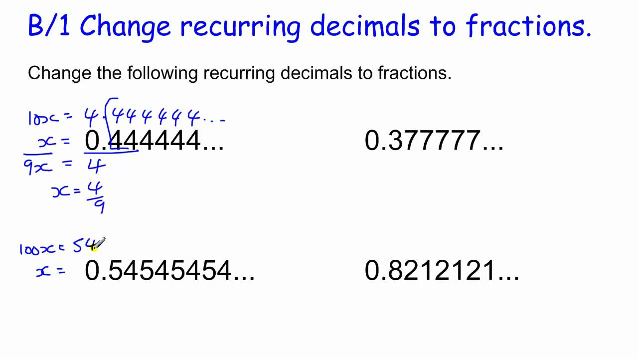 1 Changing Recurring Decimals To Fractions