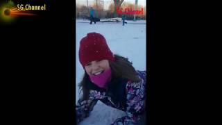 Activities on Snow & Ice for children - sliding, skating, rolling over - On Snow