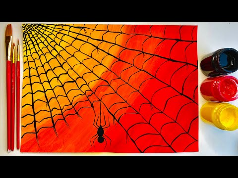 HOW TO PAINT SPIDER WEB SUNSET IN POSTER COLOR | #Spiderwebpainting #Spiderpainting #Webartpainting