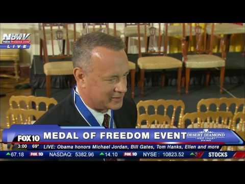 FNN: Tom Hanks Praises President Obama's Jokes at Medal of Freedom Event