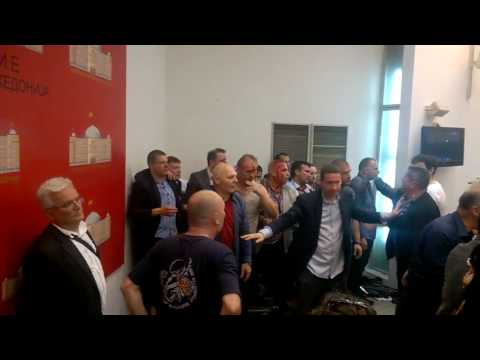 Macedonia's parliament after a vote to elect an ethnic Albanian as parliamentary