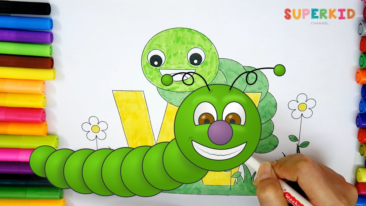 Letter W for Worm coloring sheets for preschoolers - Funny coloring ...