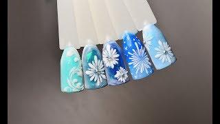 Дизайн ногтей снежинки! Рисуем снежинки на ногтях! Простые снежинки!