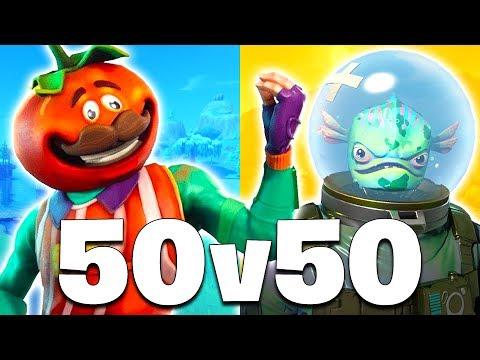 *NEW UPDATE* 50 vs 50 MODE + TOMATO HEAD SKIN!! (Fortnite Battle Royale)