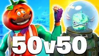 Nouvelle MISE à JOUR 50 vs 50 MODE - TOMATO HEAD SKIN!! (Fortnite Battle Royale)