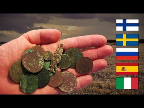 A fistful of old European coins
