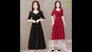 Женские длинные модные платья с коротким рукавом повседневные простые трапециевидной формы