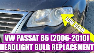TUTORIAL: How to replace /remove headlight bulb H7 Low Beam VW Passat B6 3C (20062010) in 8 steps