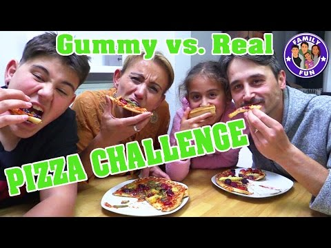 PIZZA CHALLENGE GUMMY VS. REAL FOOD | FAMILY FUN
