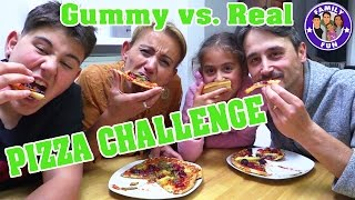 PIZZA CHALLENGE GUMMY VS. REAL FOOD | FAMILY FUN