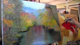 Игорь Сахаров.Пишем осенний пейзаж, отражение в реке, техника мастихином