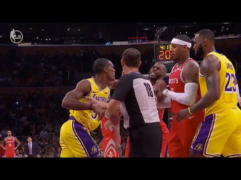 Rockets & Lakers Fight, Rondo Punches CP3 in the Face! HOU vs LAL Highlights!