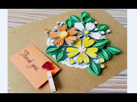 DIY Paper quilling Flower Card Design 39 // Quilling flower // Greeting Card