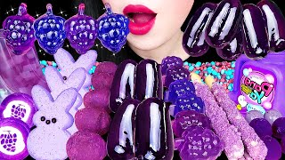 ASMR PURPLE DESSERTS *GRAPE JELLY, BUBBLE GUM, TANGHULU, MARSHMALLOW, CHOCOLATE EATING SOUNDS 먹방