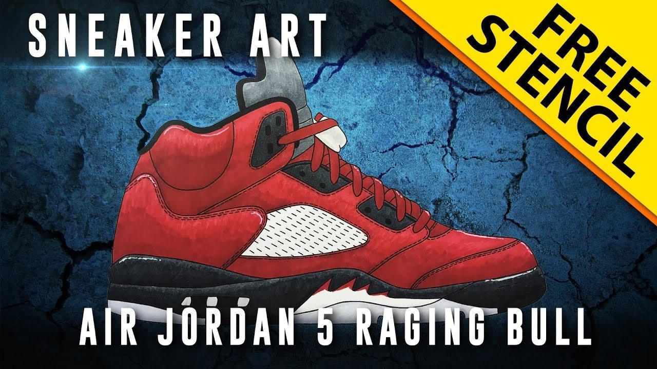 adc76c6c58c6ea Sneaker Art  Air Jordan 5 Raging Bull w  Downloadable Stencil - YouTube