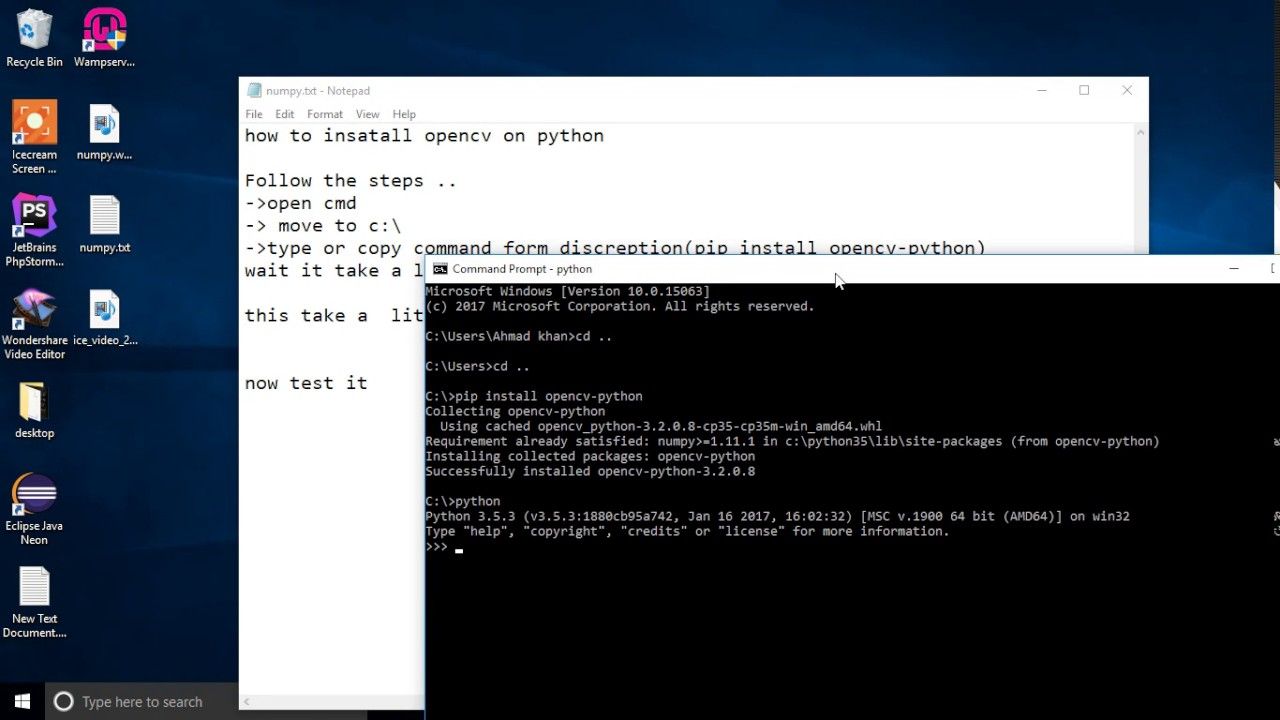 how to install opencv in python windows 10