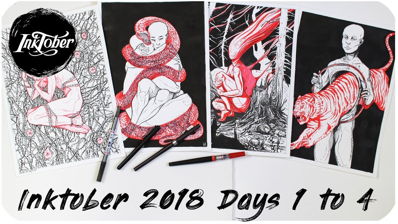 Inktober 2018 Days 1 To 4