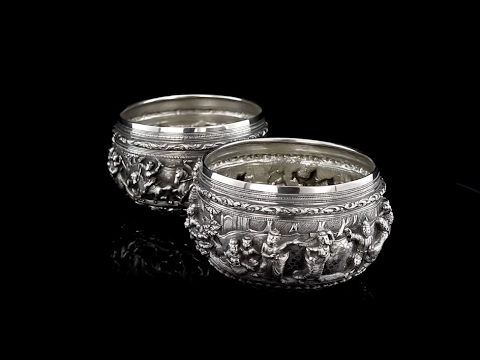 ANTIQUE 19thC BURMESE MAUNG SHWE YON BROTHERS SOLID SILVER BOWLS c.1890