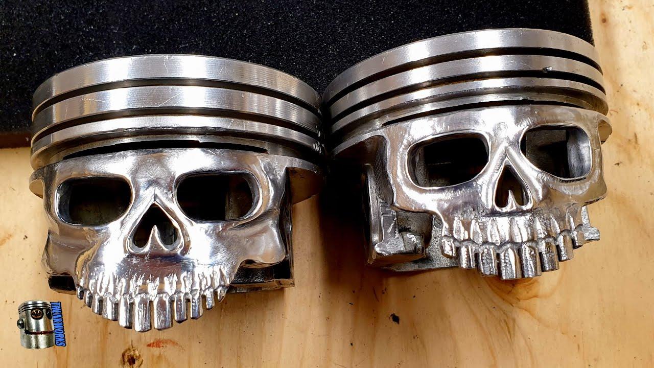 Carved Piston Skull
