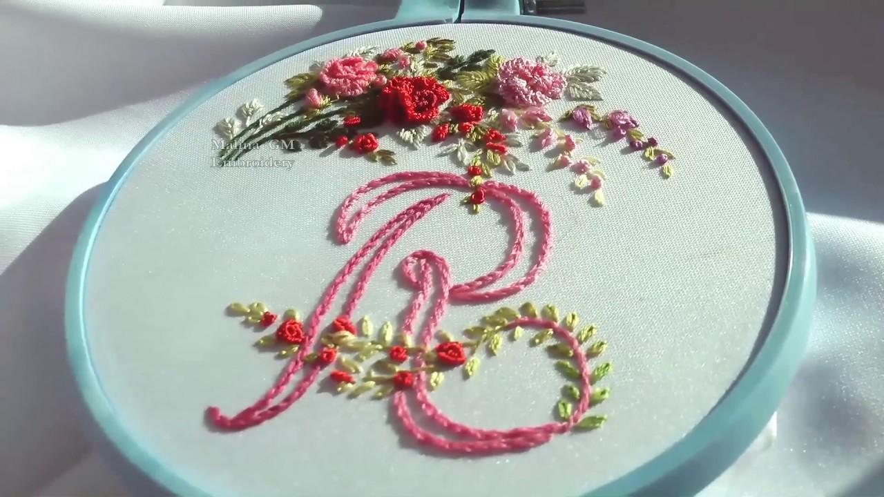 Embroidery monogram r ВЫШИВКА МОНОГРАММА Р youtube