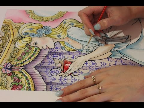 Inking Cinderella Watercolour (ASMR soft spoken and painting sounds)