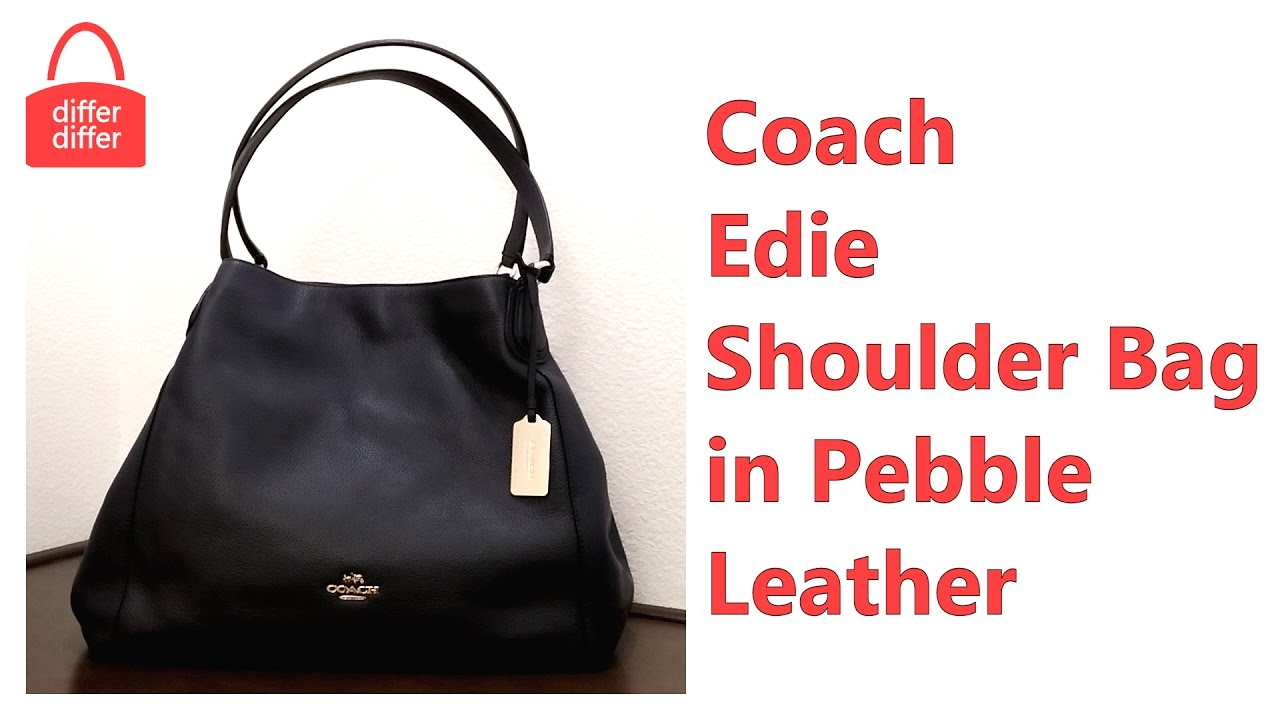 9b68e6e1099a Coach Edie Shoulder Bag in Pebble Leather 33547 - YouTube