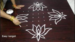 beautiful lotus kolam designs with 11 dots || easy rangoli designs with dots || muggulu designs