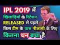 IPL 2019 में खिलाड़ियों के रिटेंशन(Released) और नीलामी से पहले किस टीम के पास कितना धन बचा है ||